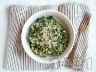Лесно вегетарианско спаначено ризото със зеленчуков бульон